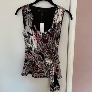 Professional  floral top cinched waist